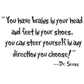 You have brains in your head and feet in your shoes, you can steer yourself in any direction you choose! - Dr Seuss